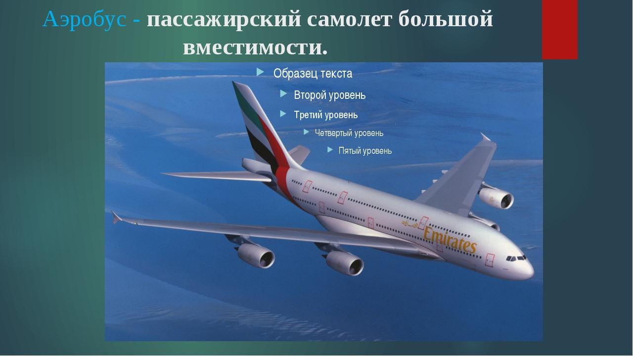 Аэробус - пассажирский самолет большой вместимости.