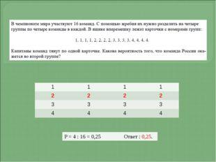 Р = 4 : 16 = 0,25 Ответ : 0,25. 1 1 1 1 2 2 2 2 3 3 3 3 4 4 4 4
