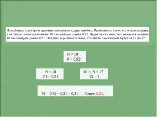 N < 18 Р = 0,82 N < 10 Р1 = 0,51 10 ≤ N ≤ 17 Р2 = ? Р2 = 0,82 – 0,51 = 0,31