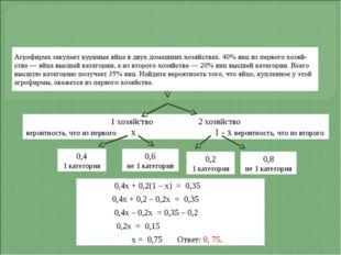 1 хозяйство 2 хозяйство вероятность, что из первого х 1 - х вероятность, что