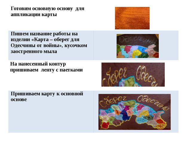 Готовим основную основу дляаппликации карты Пишем название работы на изделии...