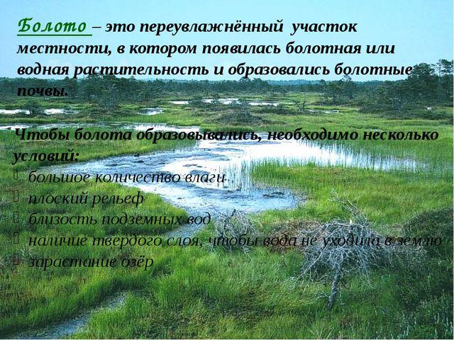 Болото – это переувлажнённый участок местности, в котором появилась болотная...