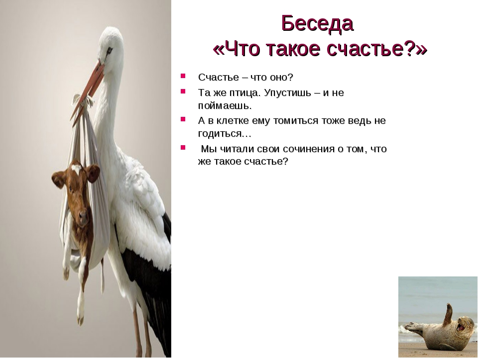 Беседа «Что такое счастье?» Счастье – что оно? Та же птица. Упустишь – и не п...