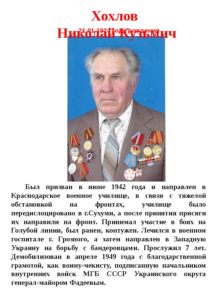 21.01.1924 года рождения Был призван в июне 1942 года и направлен в Краснодар...