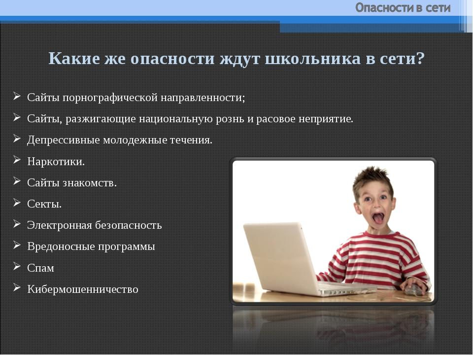 Какие же опасности ждут школьника в сети? Сайты порнографической направленнос...
