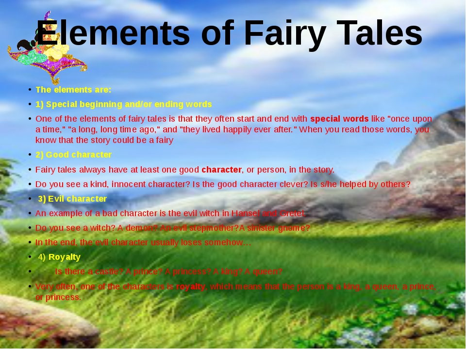 The elements are: 1) Special beginning and/or ending words One of the element...