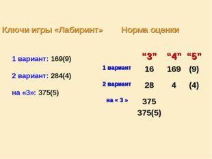 Ключи игры «Лабиринт» Норма оценки 1 вариант: 169(9) 2 вариант: 284(4) на «3»