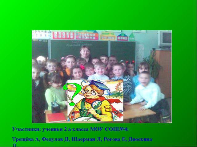 Участники: ученики 2 а класса МОУ СОШ№4: Трещёва А, Федулов Д, Шаерман Л, Рог...