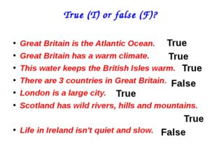 True (T) or false (F)? Great Britain is the Atlantic Ocean. Great Britain ha