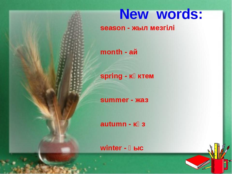New words: season - жыл мезгілі month - ай spring - көктем summer - жаз autu...