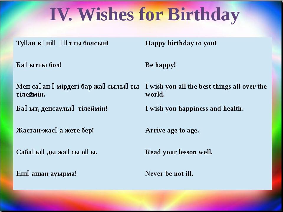 IV. Wishes for Birthday Туған күніңқұтты болсын! Happybirthday to you! Бақытт...