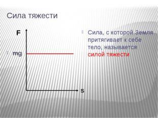 Сила тяжести mg Сила, с которой Земля притягивает к себе тело, называется сил
