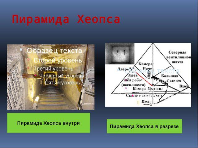 Пирамида Хеопса Пирамида Хеопса внутри Пирамида Хеопса в разрезе