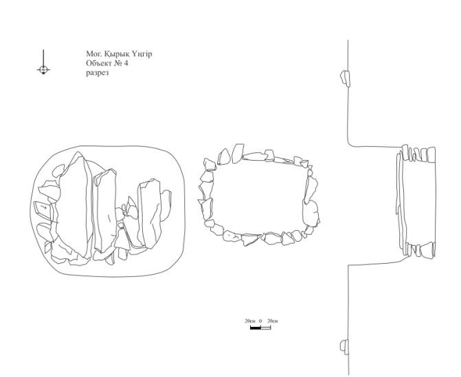 C:\Users\Fora\Desktop\чертежи\Проверенные\Могильник Кырык унгыр объект № 4, разрез.jpg
