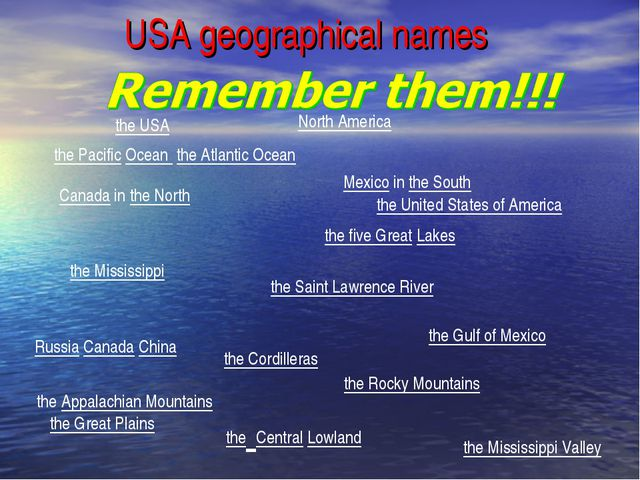 USA geographical names the United States of America the Saint Lawrence River...