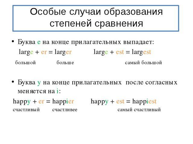Особые случаи образования степеней сравнения Буква е на конце прилагательных...