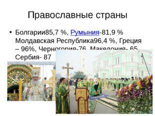 Православные страны Болгарии85,7%,Румыния-81,9% Молдавская Республика96,4