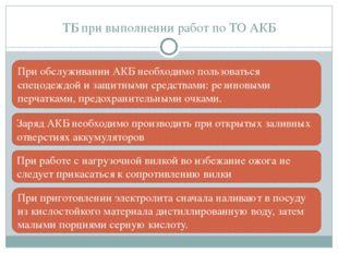 ТБ при выполнении работ по ТО АКБ Заряд АКБ необходимо производить при открыт