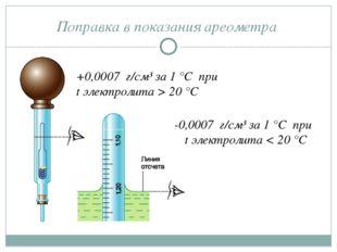 Поправка в показания ареометра +0,0007 г/см³ за 1 °С при t электролита > 20 °