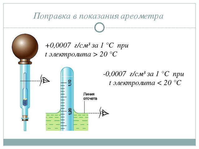 Поправка в показания ареометра +0,0007 г/см³ за 1 °С при t электролита > 20 °...