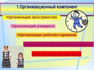 1.Организационный компонент Организация пространства Организация учащихся Орг