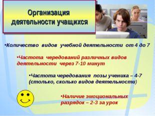 Организация деятельности учащихся Количество видов учебной деятельности от 4