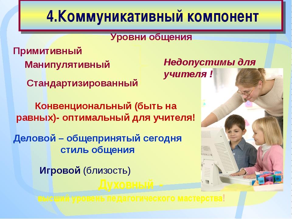4.Коммуникативный компонент Духовный - высший уровень педагогического мастер...