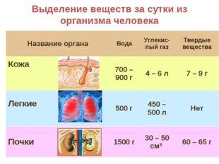 Выделение веществ за сутки из организма человека Название органаВодаУглекис