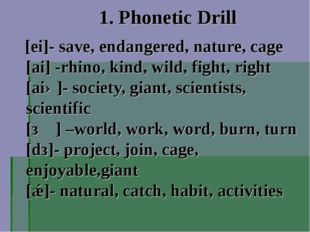 1. Phonetic Drill [ei]- save, endangered, nature, cage [ai] -rhino, kind, wil