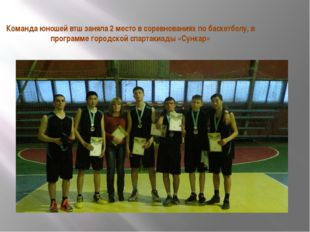 Команда юношей втш заняла 2 место в соревнованиях по баскетболу, в программе