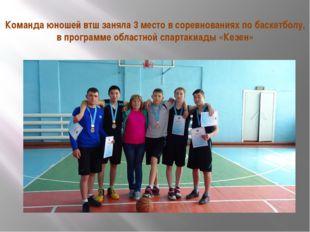 Команда юношей втш заняла 3 место в соревнованиях по баскетболу, в программе