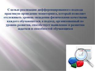С целью реализации дифференцированного подхода практикую проведение мониторин