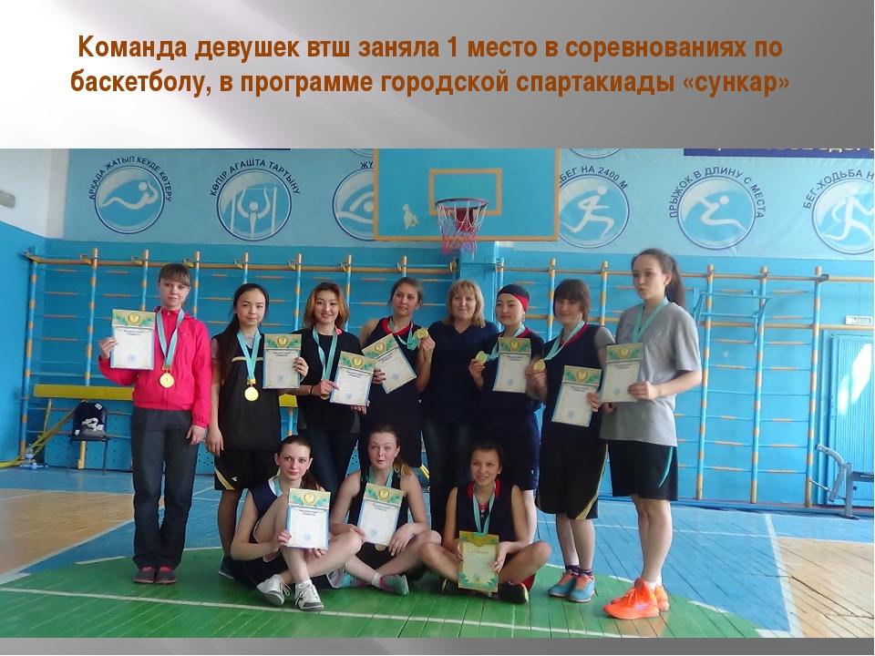 Команда девушек втш заняла 1 место в соревнованиях по баскетболу, в программе...