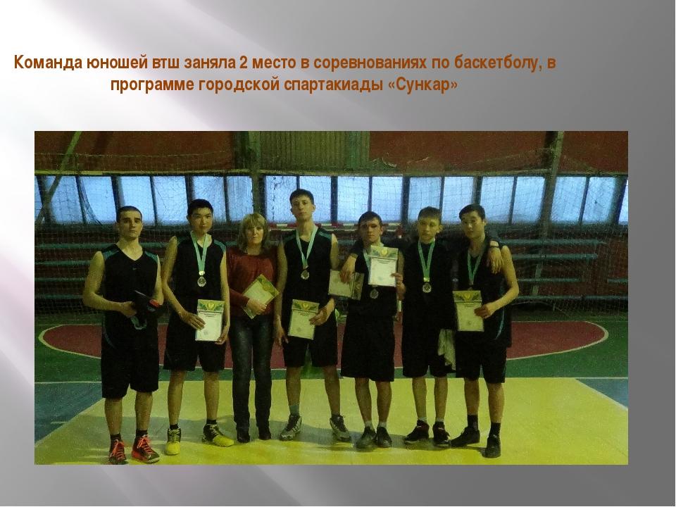 Команда юношей втш заняла 2 место в соревнованиях по баскетболу, в программе...
