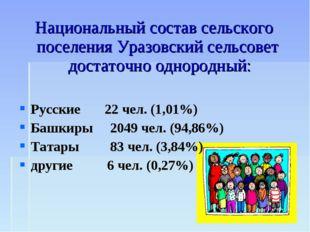 Национальный состав сельского поселения Уразовский сельсовет достаточно однор
