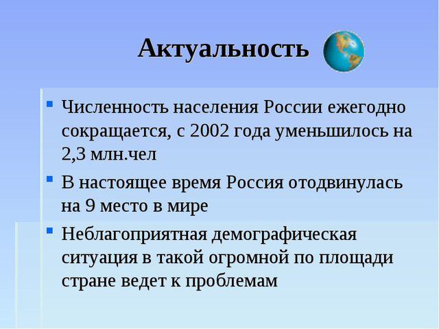 Актуальность Численность населения России ежегодно сокращается, с 2002 года у...