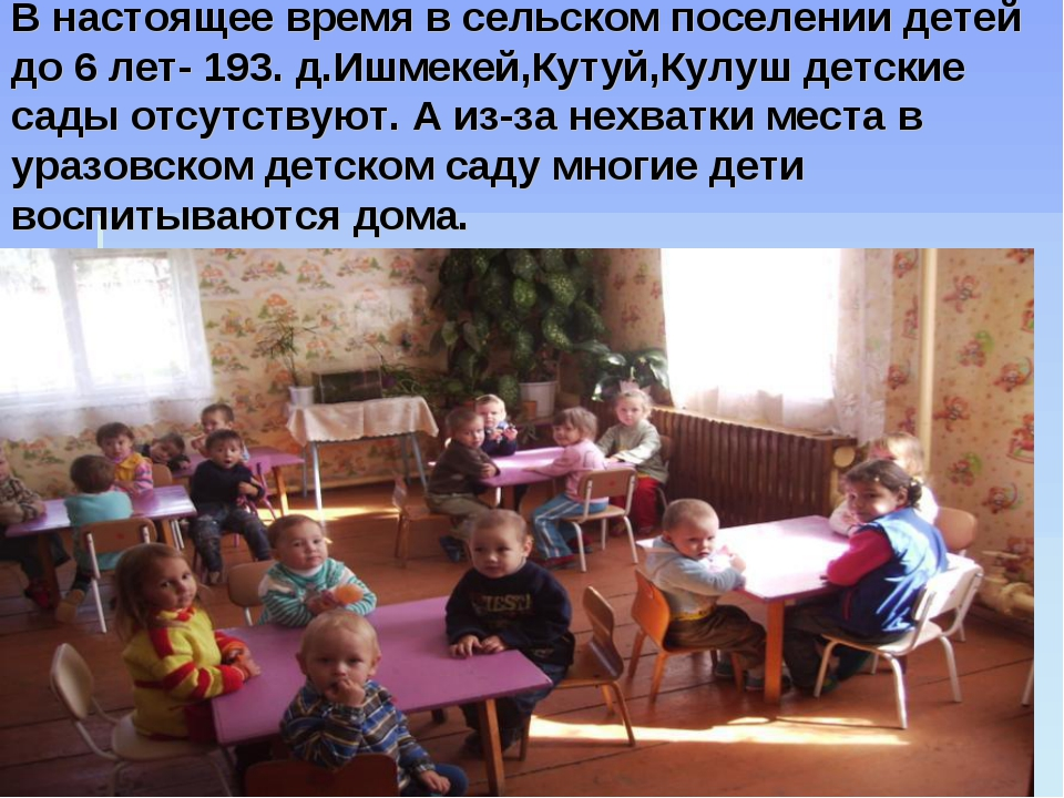 В настоящее время в сельском поселении детей до 6 лет- 193. д.Ишмекей,Кутуй,К...