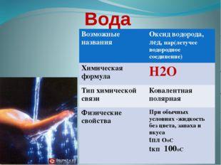Вода Возможные названия Оксид водорода, лед,пар(летучее водородное соединение