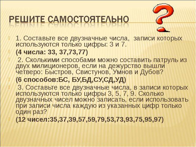 1. Составьте все двузначные числа, записи которых используются только цифры:...
