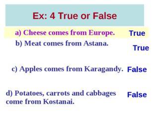 Ex: 4 True or False True False True False a) Cheese comes from Europe. b) Me