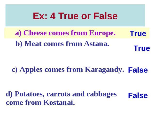 Ex: 4 True or False True False True False a) Cheese comes from Europe. b) Me...
