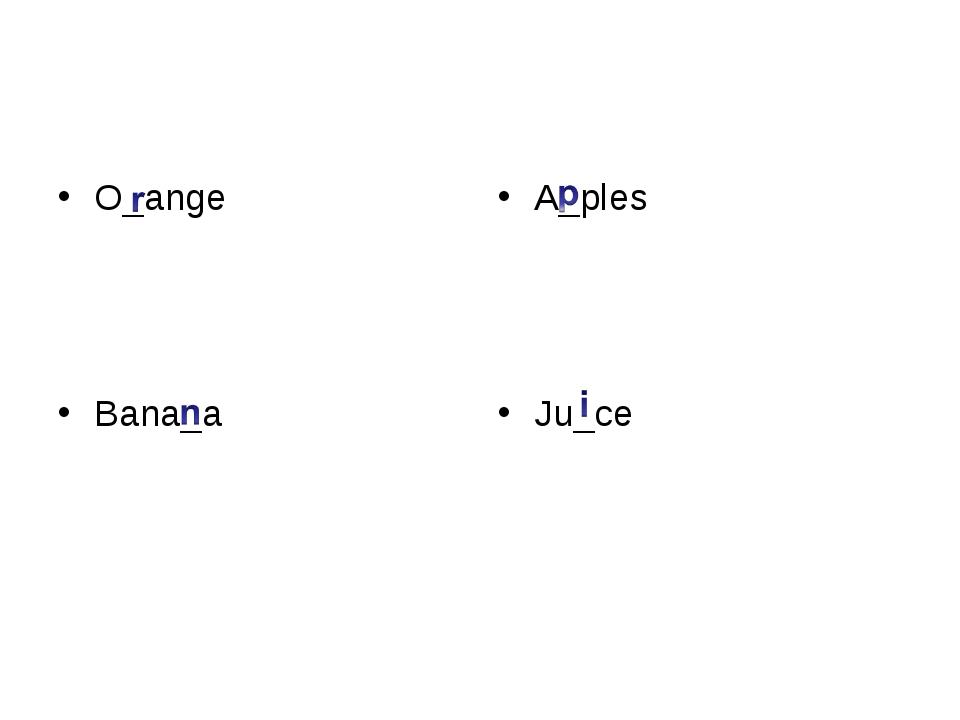O_ange Bana_a A_ples Ju_ce