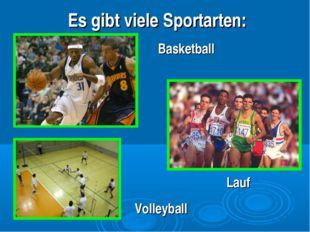 Es gibt viele Sportarten: Lauf Basketball Volleyball