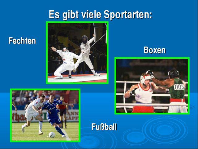 Es gibt viele Sportarten: Fechten Fußball Boxen
