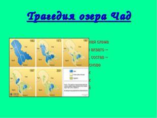 Трагедия озера Чад Компьютерная схема сокращения аквато – рии оз. Чад, состав