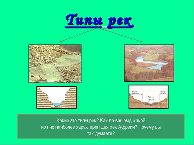 Типы рек Какие это типы рек? Как по-вашему, какой из них наиболее характерен...