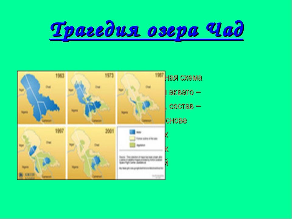 Трагедия озера Чад Компьютерная схема сокращения аквато – рии оз. Чад, состав...
