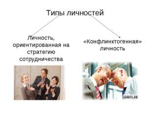 Типы личностей Личность, ориентированная на стратегию сотрудничества «Конфлин