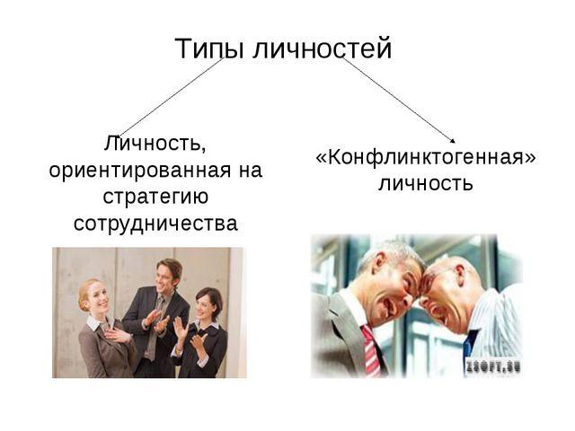 Типы личностей Личность, ориентированная на стратегию сотрудничества «Конфлин...