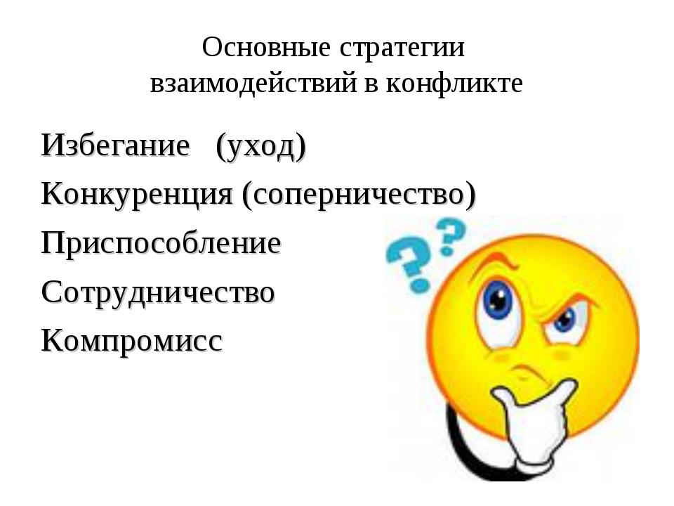 Основные стратегии взаимодействий в конфликте Избегание (уход) Конкуренция (с...